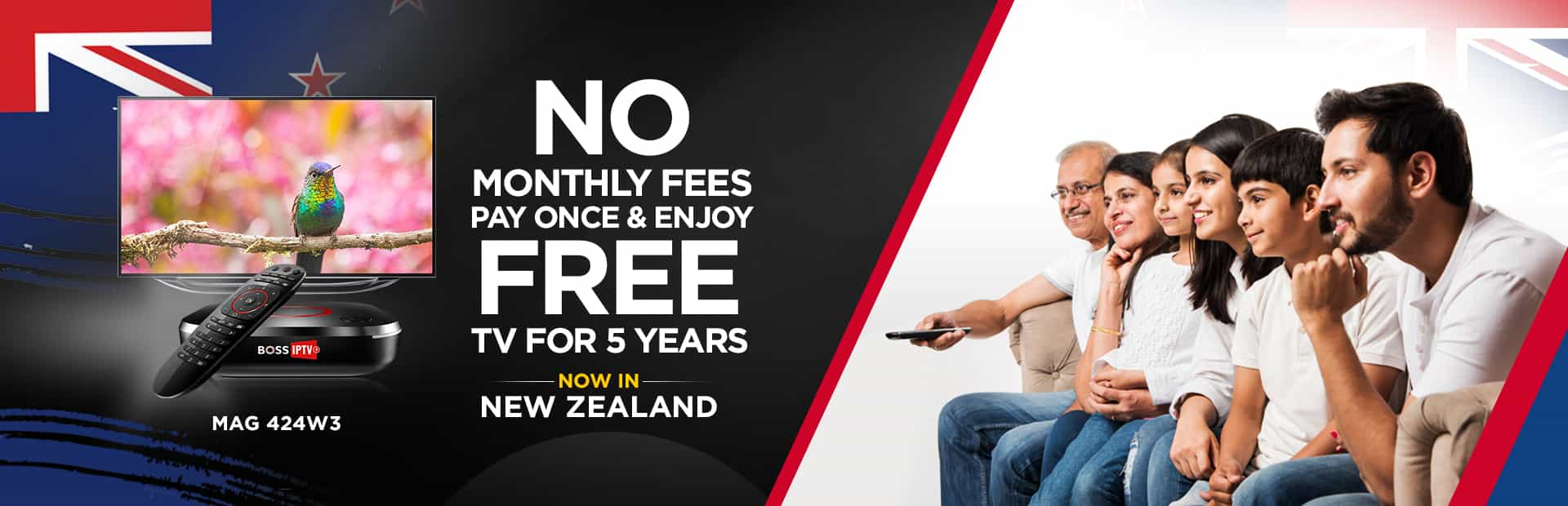 No monthly fees pay once & enjoy free TV for 5 years